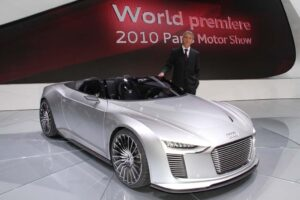 The Audi eTron Spyder with CEO Rupert Stadler, who will also speak at the 2011 CES convention.