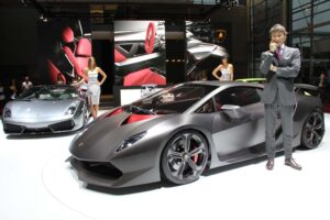 The Lamborghini Sesto Elemento show car with CEO Stephan Winkelmann and friends.