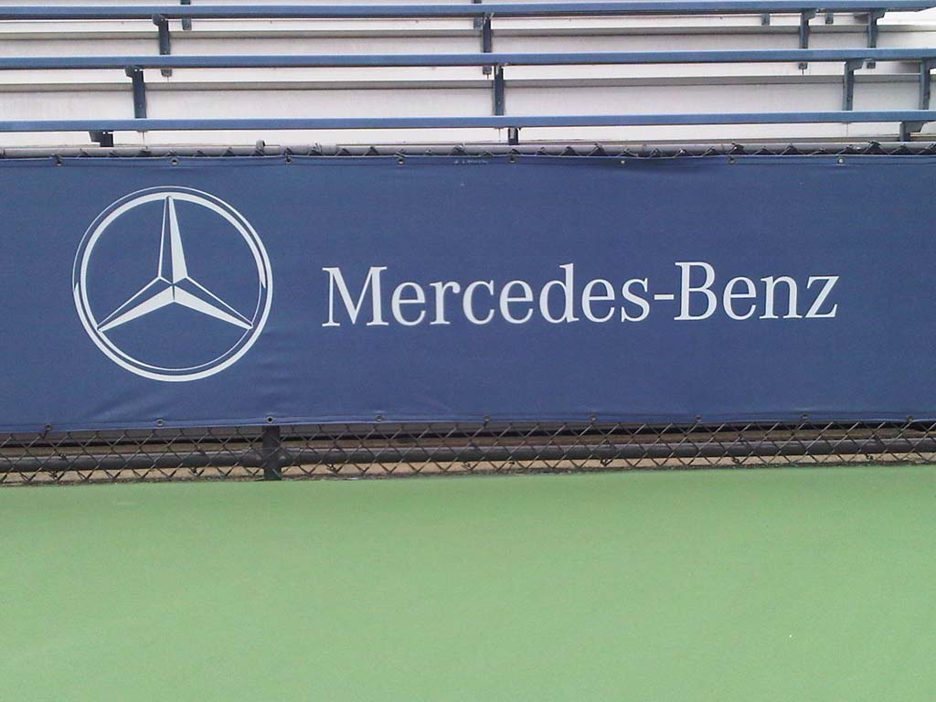 Marty s marketing minutia mercedes logo on court for Mercedes benz us open