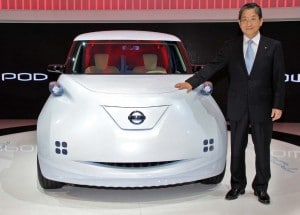 Nissan Chief Operating Office Toshiyuki Shiga with the maker's Townpod EV concept. Shiga will now directly oversee Nissan battery-car operations.