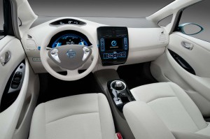 The interior of the Nissan Leaf makes extensive use of recycled materials, notably including old plastic soft drink bottles.