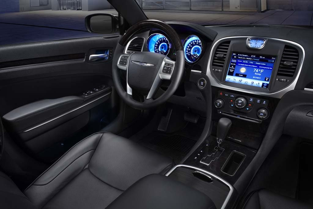 Soft Blue Lighting Accents The Interior Of 2017 Chrysler 300 At Night