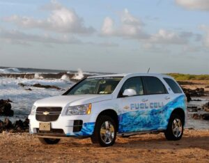 GM and its new partners plan to set up a hydrogen fueling network, in Oahu, for vehicles like this Chevrolet Equinox FCV.
