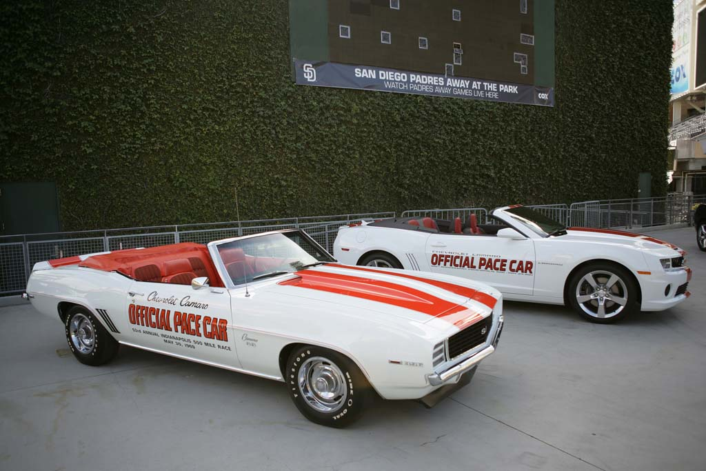 The 2011 indianapolis 500 pace car with a 1969 camaro convertible pace