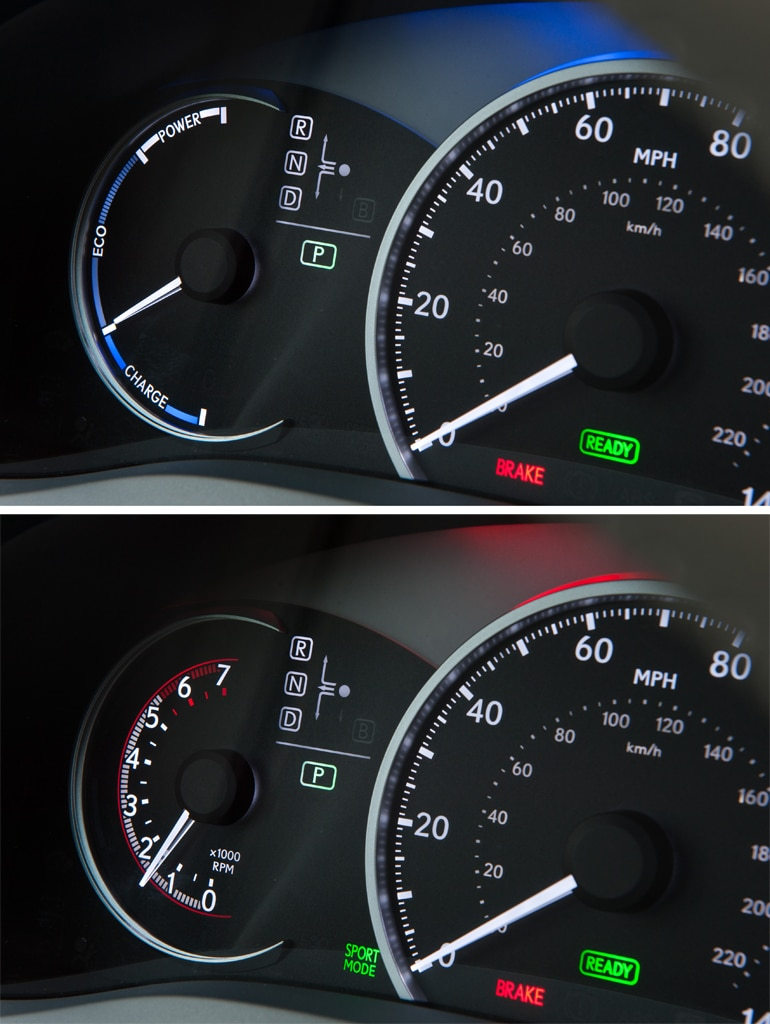 The Ct 200h S Gauges Change In Sport Mode Below Gauge Becomes A