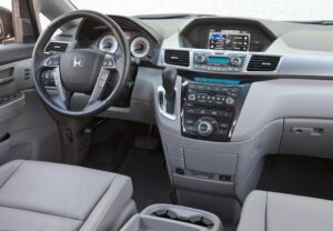 The Odyssey's instrument panel features metal-look trim rings inside the gauges that matches the trim on the dashboard.