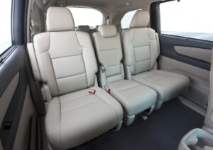 The Odyssey's middle-row seats are easy to slide forward to access the third row.