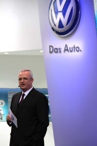 Ousted VW CEO Martin Winterkorn during a presentation at the Tokyo Motor Show.