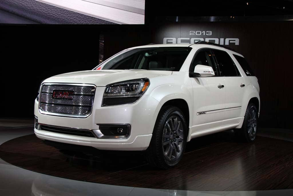 first look 2013 gmc acadia and acadia denali. Black Bedroom Furniture Sets. Home Design Ideas