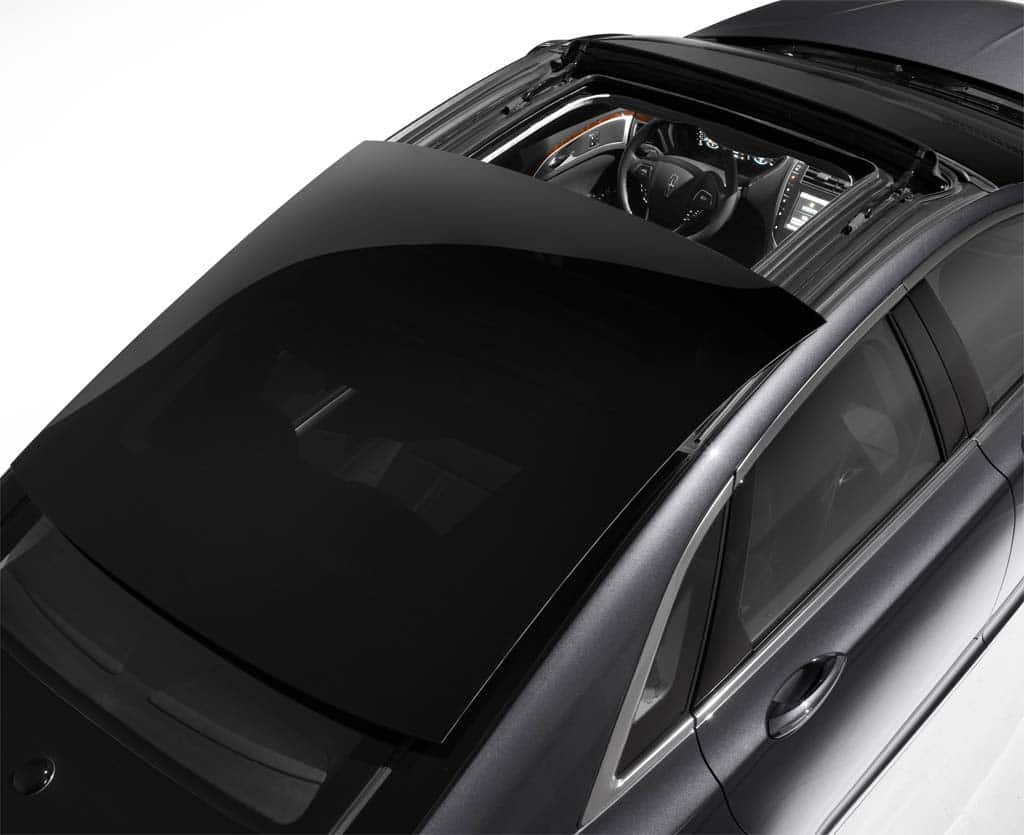 The 2013 Lincoln MKZ's retractable glass roof, an industry first.