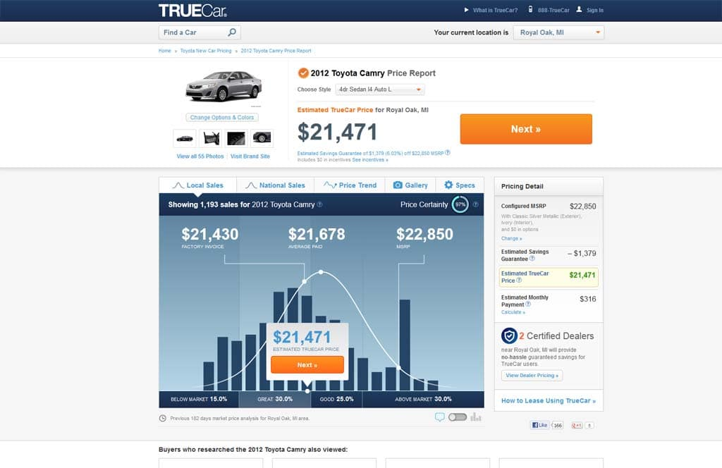 pricing page from the revised TrueCar.com. Click to enlarge for a