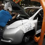A Nissan Leaf rolling off the assembly line in Smyrna, Tennessee. The battery car had its best June yet.