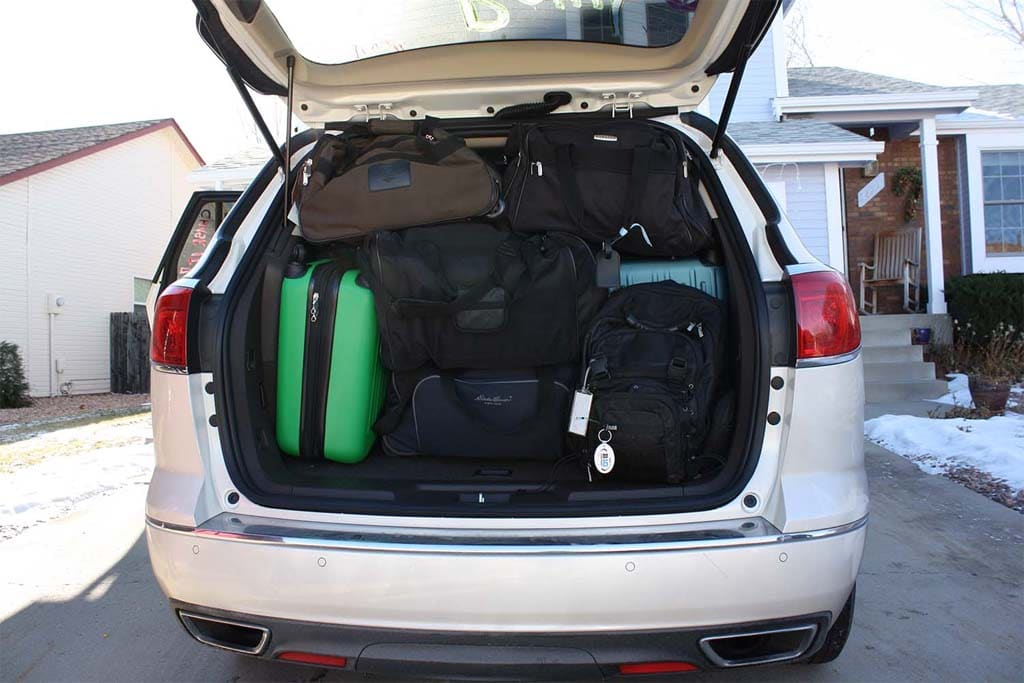 Rose Bowl Or Bust 2014 Buick Enclave Luggage In Car