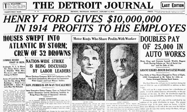 5 a day how henry ford kick started the american middle for Ford motor company news headlines