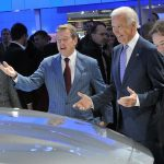 Chairman Bill Ford shows off the 2015 Ford F-150 to Vice President Joe Biden at the Detroit Auto Show.