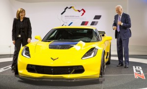 GM CEO Mary Barra shows Vice President Joe Biden the 2015 Chevrolet Corvette Z06 at the North American International Auto Show in Detroit.