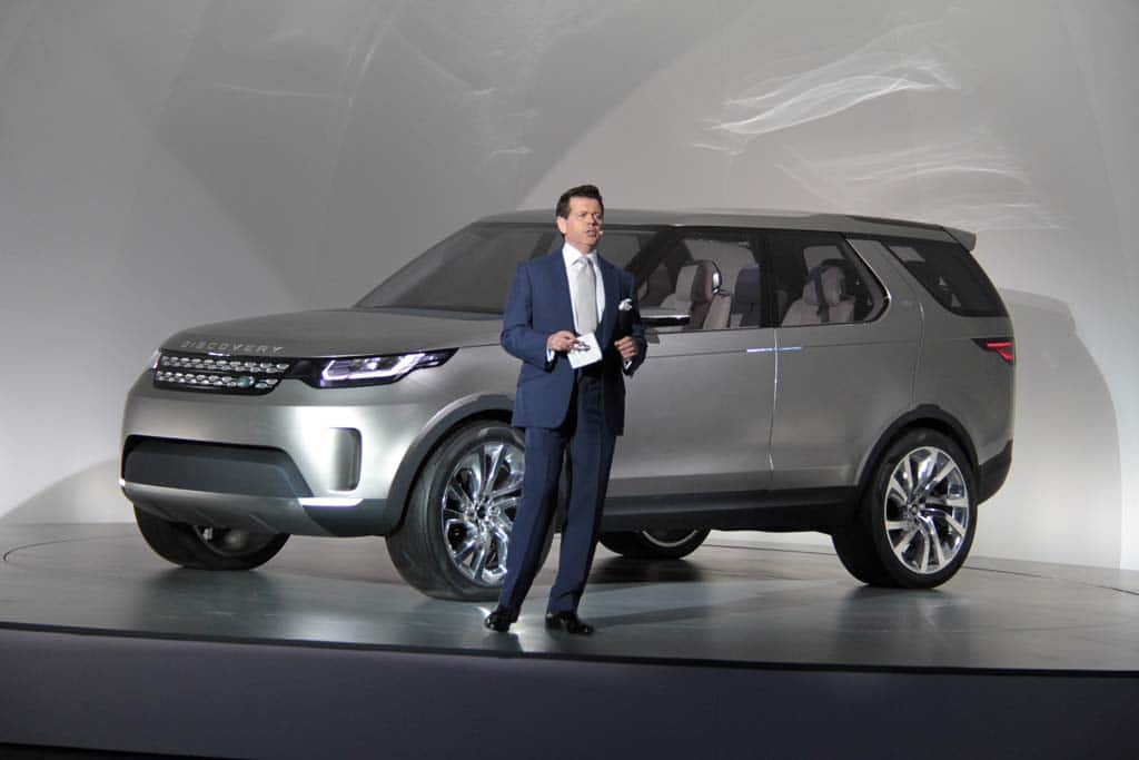 Land Rover Design Chief Gerry Mcgovern With The Discovery Concept At Its Ny Auto Show Debut