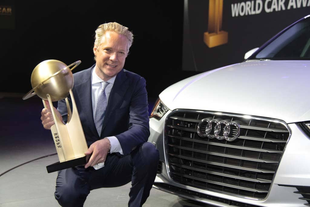 Audi A Wins World Car Of The Year Scott Keogh With WCoTY Trophy - Audi car year