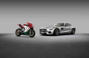 The new Mercedes-AMG GT S and the MV Agusta F3 800 Ago.