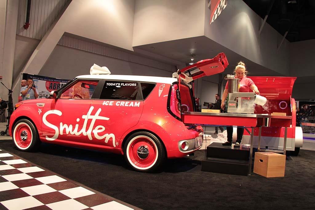 Smitten Ice Cream Logo kia mixes beer and ice cream as it rolls into sema