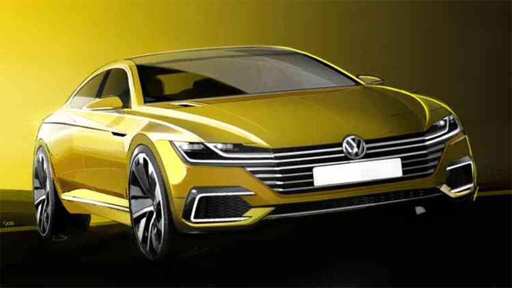 VW Sketches Hint at New 4-Door Coupe Volkswagen Concept Sketch - front 3-4 – TheDetroitBureau.com