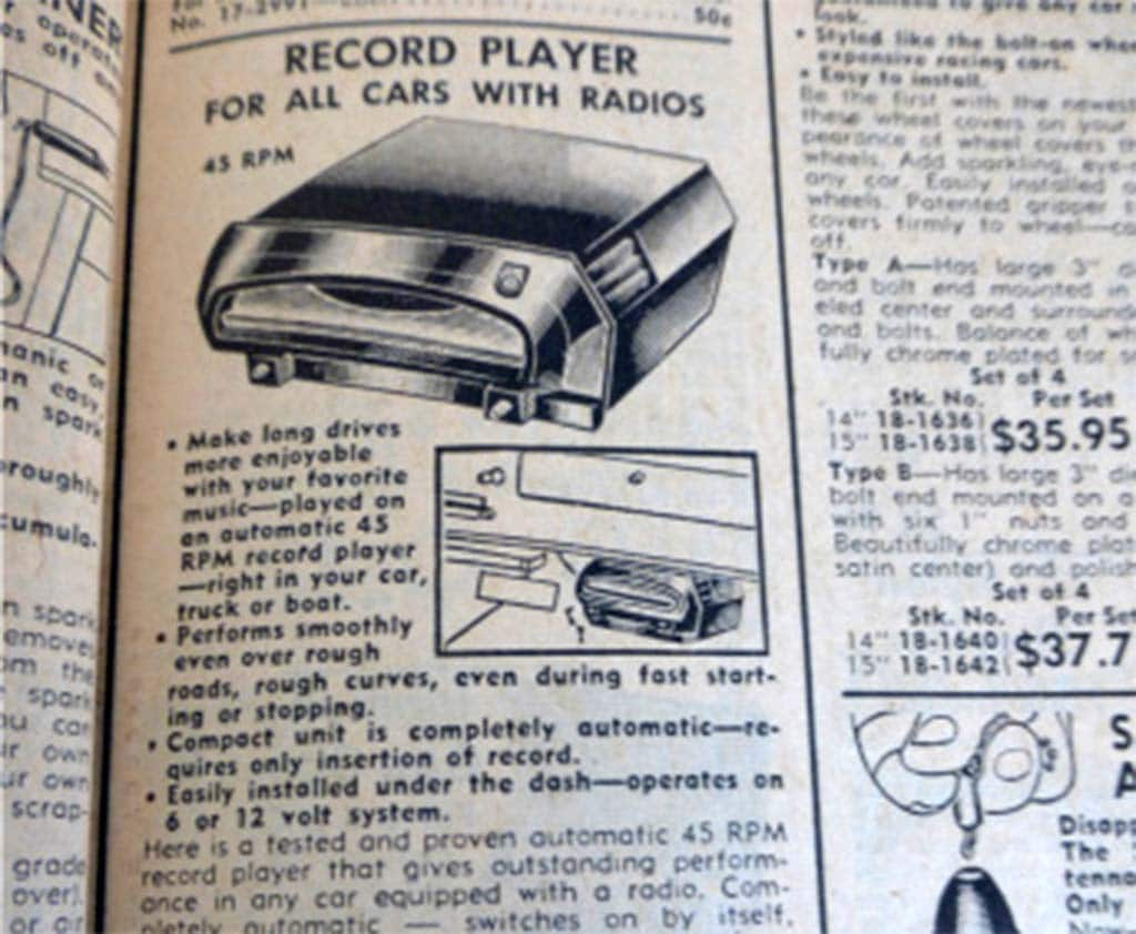 A precursor to the in car cd player the record player for the car