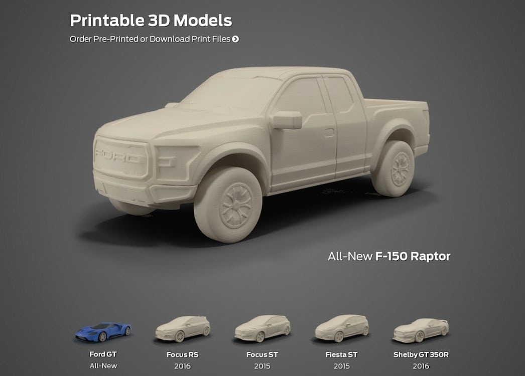 Ford lets users print favorite models ford 3d printables Making models for 3d printing