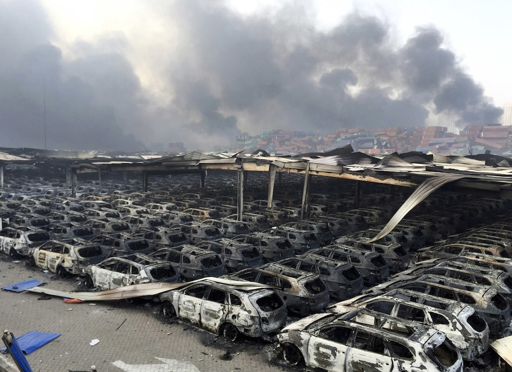 Massive Explosion Torches 8 000 Vehicles In China