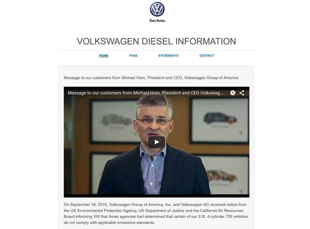 "VW Promises for Fix Diesel Emissions Problem ""As Soon As Possible"""