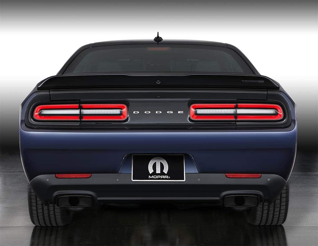 Mopar Dodge Challenger Rear on Blue Dodge Durango