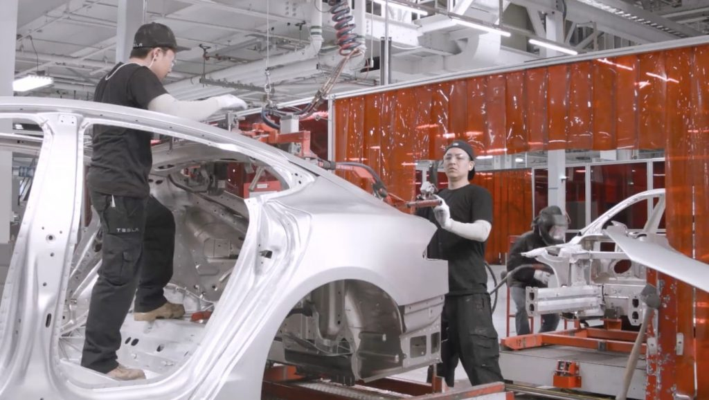 Tesla shop floor employees