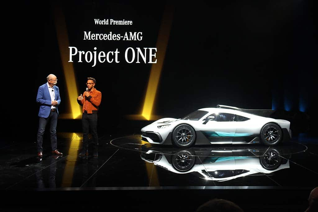 Mercedes-AMG's Project One Hypercar gets its Frankfurt intro with Dieter Zetsche left and Formula One driver Lewis Hamilton