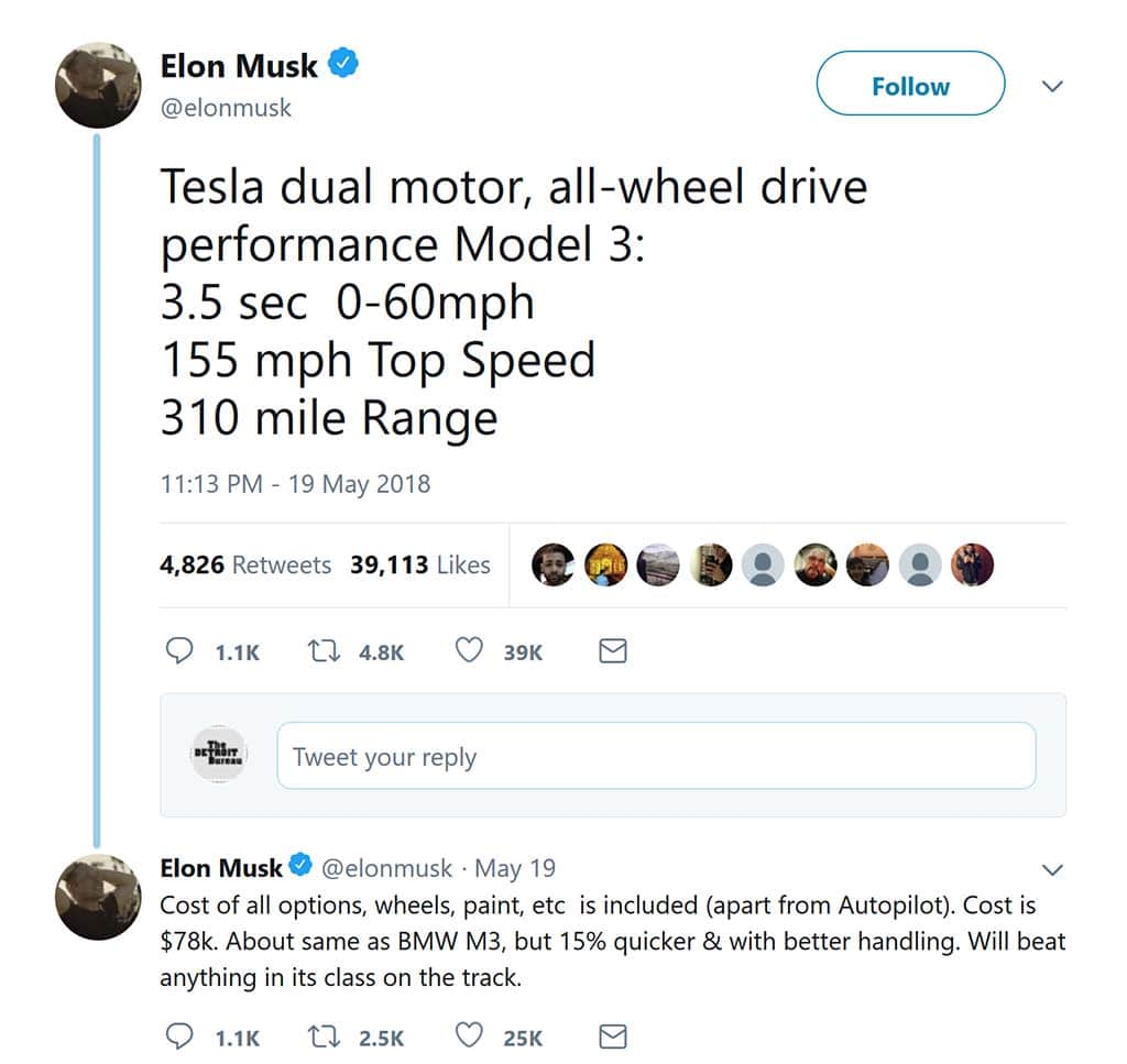 Musk says the Tesla Model 3 is fast, very fast