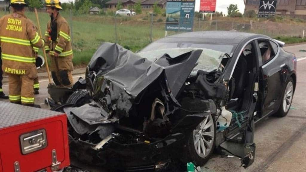 The driver of the Tesla involved in this March crash in Utah suffered a broken foot and other injuries