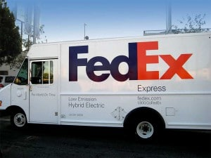 FedEx hybrid delivery truck