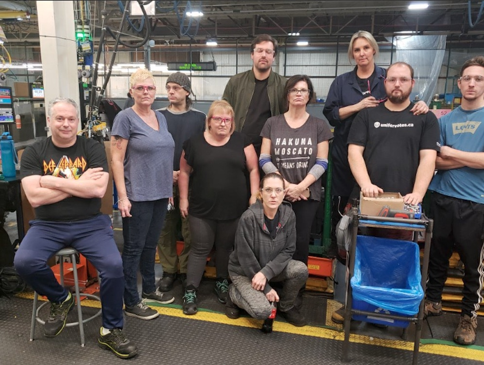 Workers at GM's plant in Oshawa Ontario staged a sit-down strike after the company rejected plans to keep the plant open