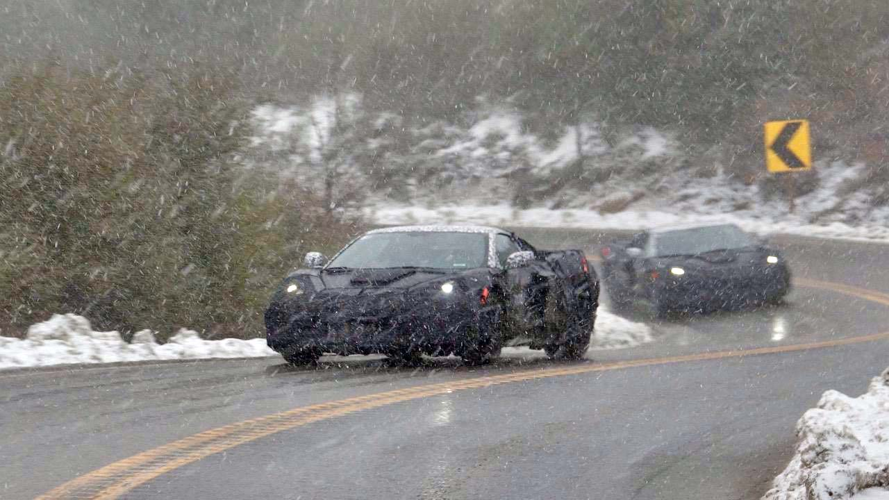 Mid-engine Corvette C8 Caught Testing in (Unexpected) Snow Storm