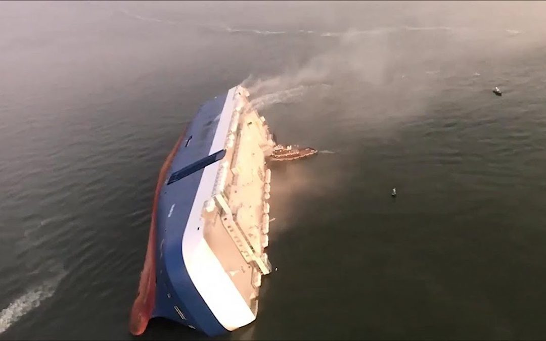 Car-Carrying Cargo Ship Left Burning off Georgia Coast in Hurricanes's Wake