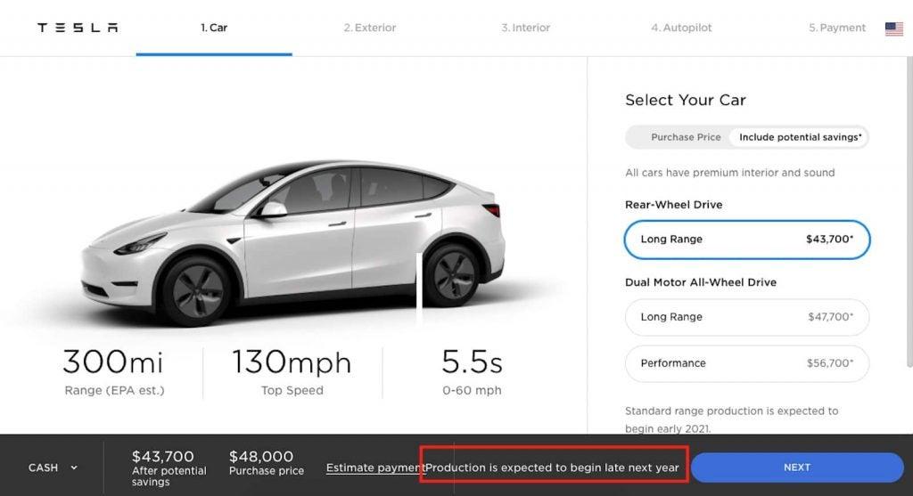Tesla Model 3 webpage one
