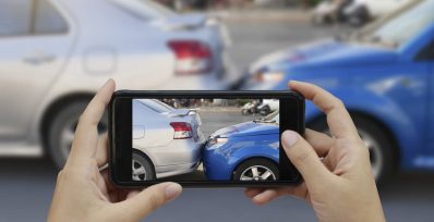 taking photo of car accident