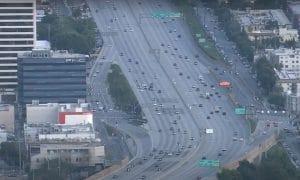 LA traffic light during pandemic