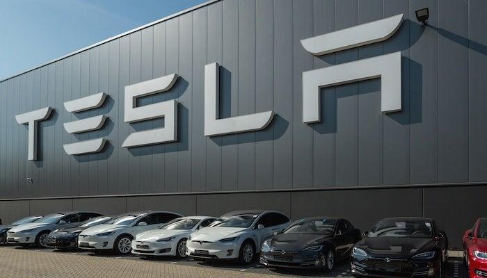 Tesla vehicles at plant