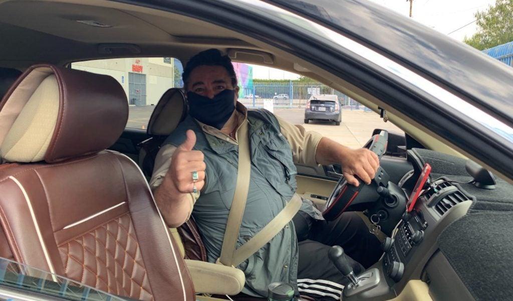 Lyft driver masked