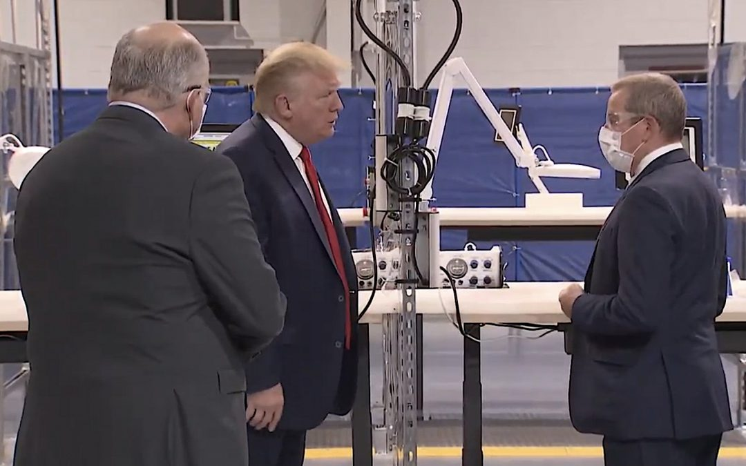 Trump Praises Ford, Workers, Skips Mask During Tour of Automaker Plant Producing Ventilators