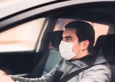 Uber driver with mask