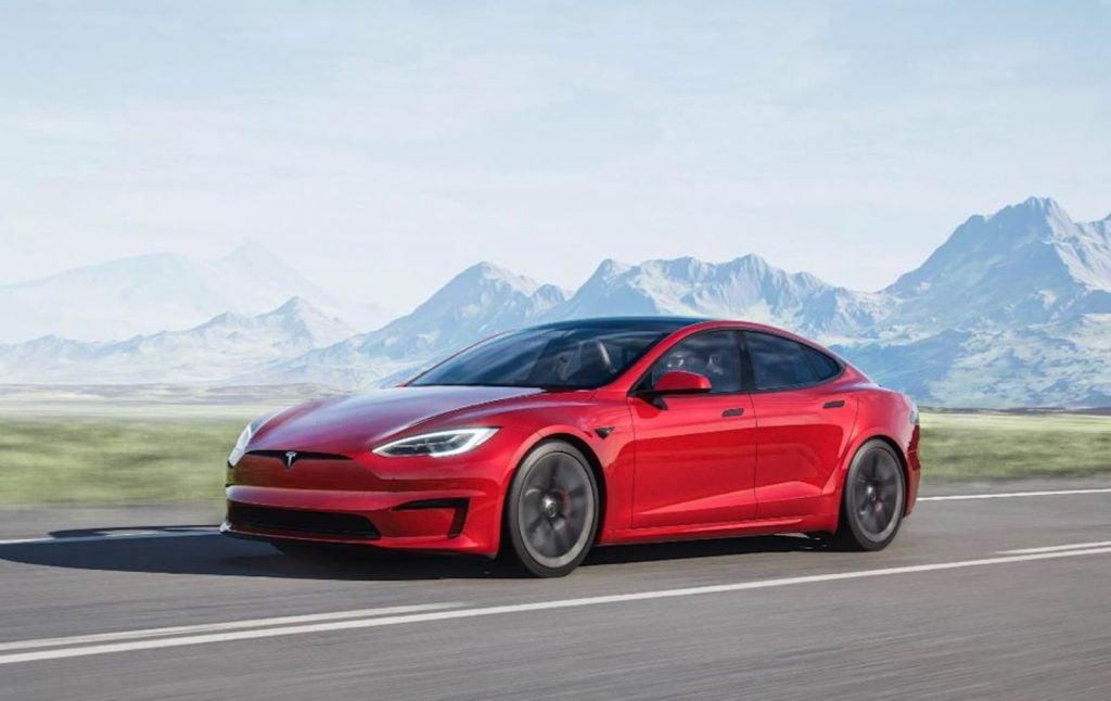 2021 Tesla Model S driving red