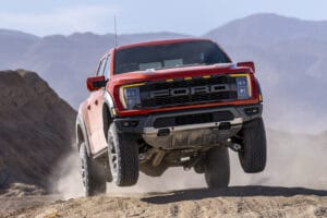 2021 Ford F-150 Raptor jumping