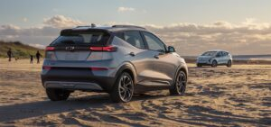 2022 Chevrolet Bolt EV and EUV on a beach