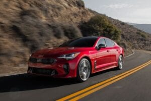 2022 Kia Stinger GT red driving