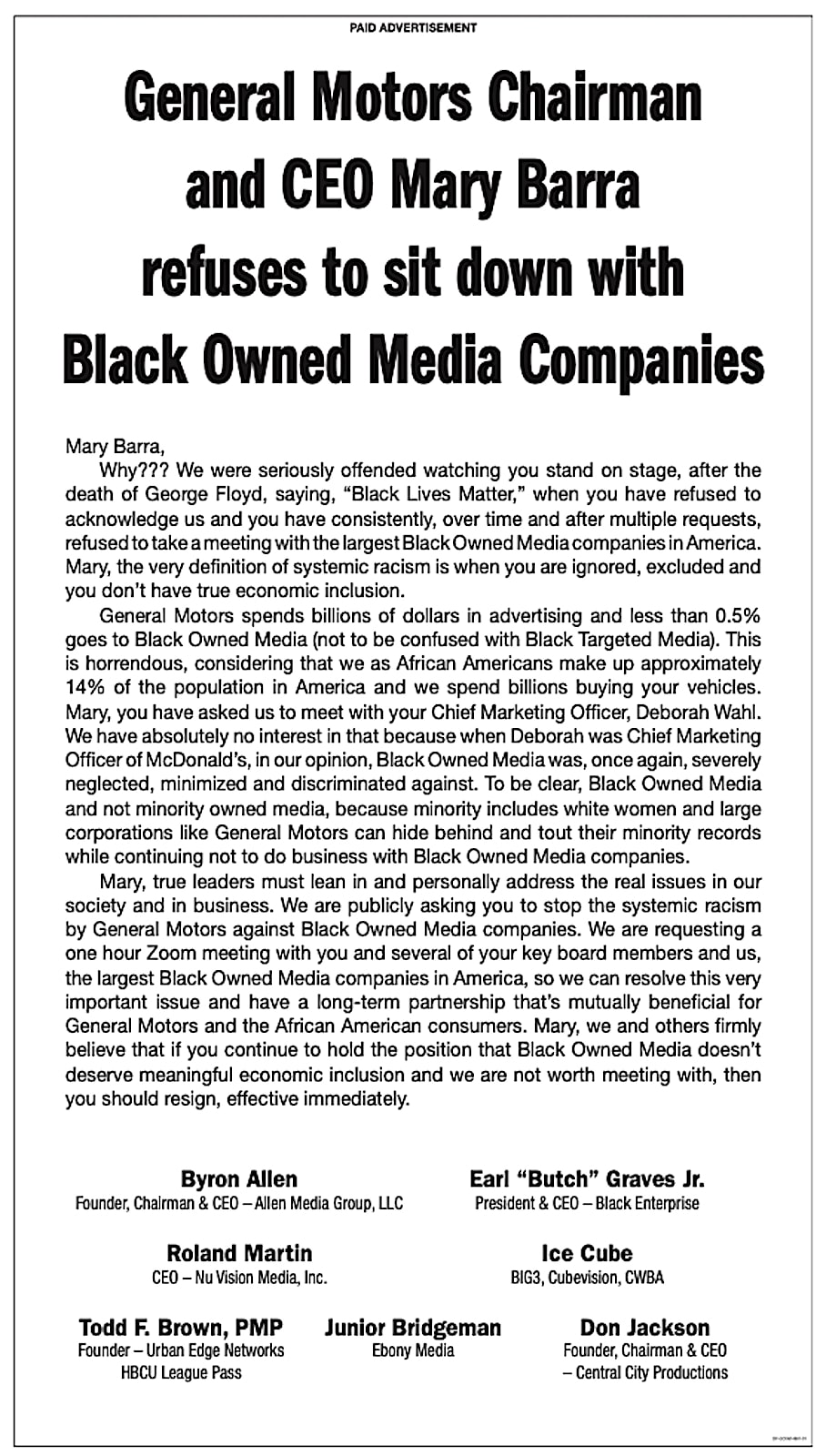 Black media ad about Barra